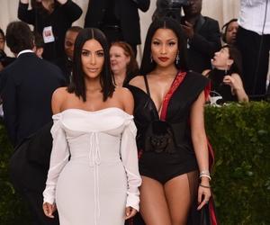 kim kardashian, nicki minaj, and met gala image