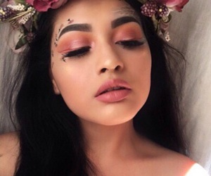 flowers, makeup, and girl image