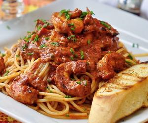 bread, shrimp, and spaghetti image