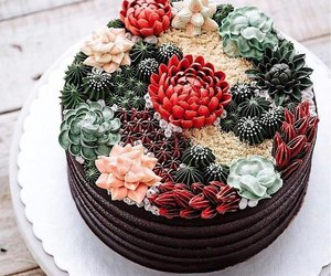 cake, cactus, and flowers image