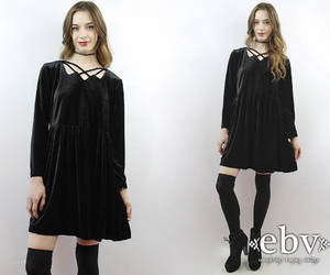 black dress, etsy, and goth image
