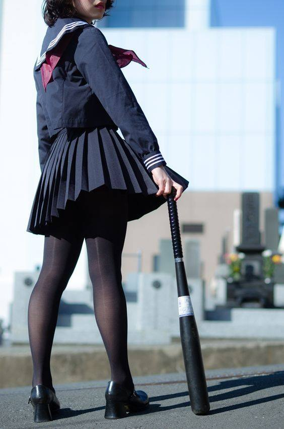 bat, japanese schoolgirl, and delinquent image