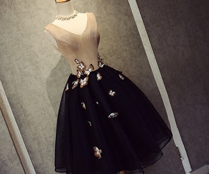 black dress, butterflies, and party dress image