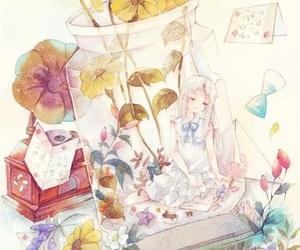 anime girl, menma, and glass image