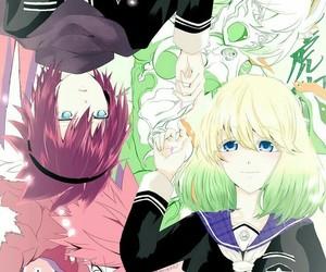 uniform, anime couple, and anime wallpaper image