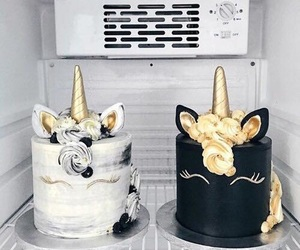 cake, unicorn, and black image