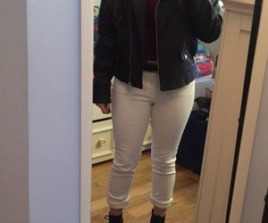 black, leather jacket, and going out image