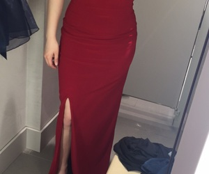 long dress, simple dress, and red dress image