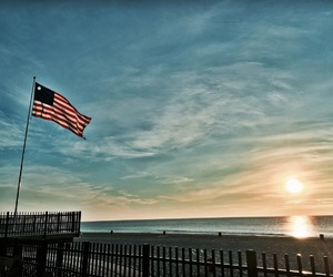 america, american flag, and beach image