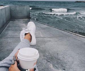 coffee, adidas, and sea image