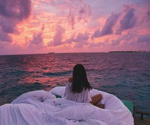 sky, sea, and sunset image