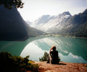 mountains, lake, and boy image