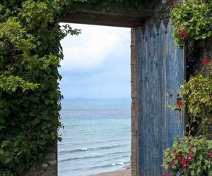 door, sea, and beach image