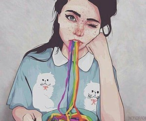rainbow, girl, and art image