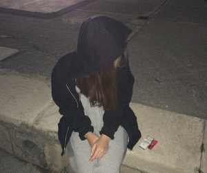 cigarette, dark, and girl image