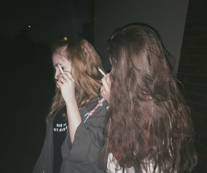 cigarette, girls, and grunge image