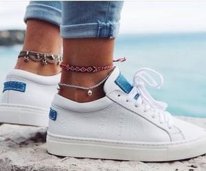 shoes, bracelet, and sea image