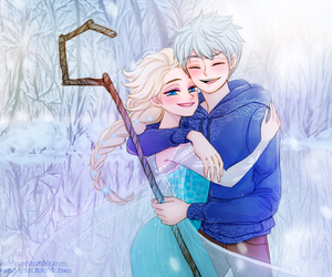 fan art, hug, and jelsa image