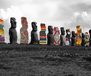 easter island, art, and Collage image