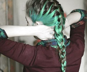 black, braid, and colored hair image