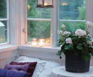 flowers, candle, and window image
