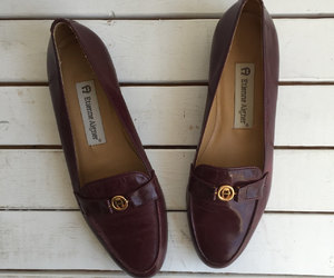 burgundy, classic, and flats image