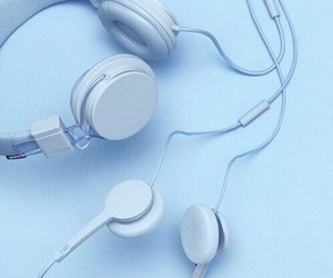 blue, aesthetic, and headphones image