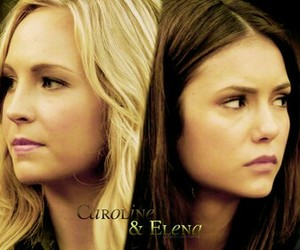 the vampire diaries, elena gilbert, and caroline forbes image