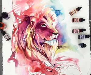 art, lion, and colors image