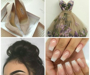 dress, nails, and outfit image
