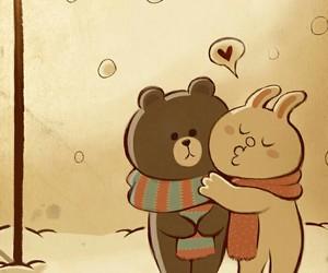love, bear, and line image