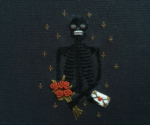 dark, embroidery, and skeleton image