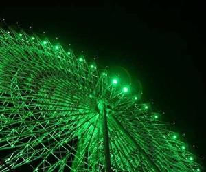 green lights, ferris wheel, and green image
