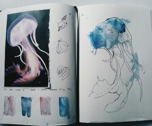 jellyfish, art, and blue image