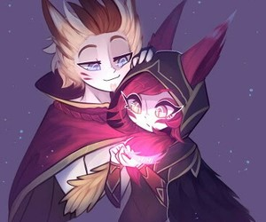rakan, xayah, and league of legends image