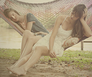 girls, rest, and hammock image