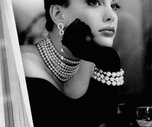black and white, jewelry, and woman image