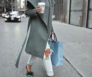 coat, grey, and heels image