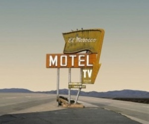 desert, sign, and motel image