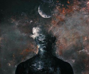 art, moon, and black image