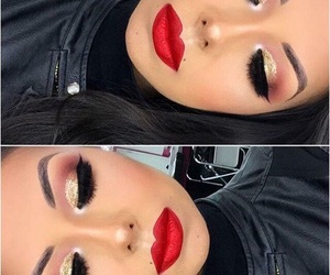beautiful, makeup, and red image