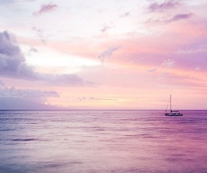 ocean, pretty, and pink beach image