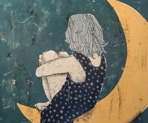 moon, girl, and art image