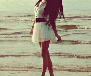 girl, dress, and beach image