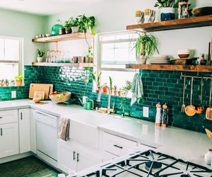 kitchen, design, and green image
