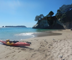 backpacking, cathedral cove, and hahei image