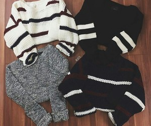 black, sweater, and white image