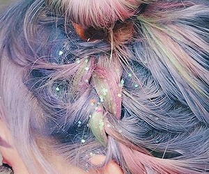 buns, dyed, and glitter image