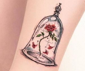 beauty and the beast, rose, and tattoo image