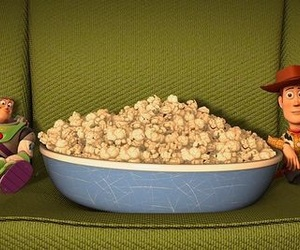 toy story, woody, and popcorn image